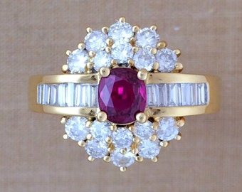 0.55 ct. Ruby & 1.16 ct. Diamond Cocktail Ring - 18K Yellow Gold - July Birthstone