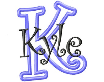 Curlz Applique Font Curlz Font Applique Machine Embroidery Monogram Font Curlz Monogram Font Machine Embroidery - 5 Sizes