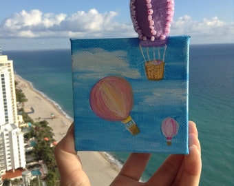 Original small painting on canvas acryl with felt decoration. Balloons in the sky.