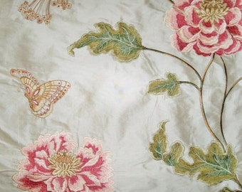 COLEFAX & FOWLER ORIENTAL Poppy Embroidered Floral Silk Stripes Fabric 10 Yards Cream Shabby Pink Green
