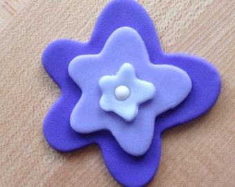 "2.5"" Fondant Purple Flowers, cupcake toppers"