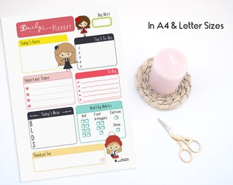 A4 & Letter Illustrated Adorable Daily Planner Refills Inserts - Undated (Ellemon Girls Collection)