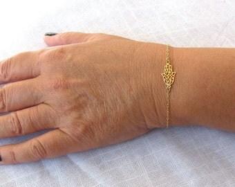 Gold hamsa bracelet, hamsa bracelet, gold filled 14k, luck bracelet, dainty bracelet, oriental bracelet, gold filled bracelet ,evil eye