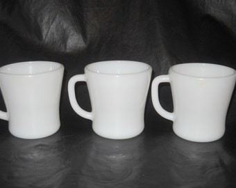 Three Vintage Federal Glass Company White Milk Glass Coffee Cup Mugs, D Handle