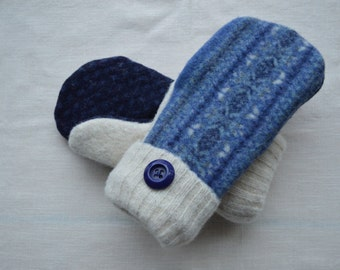 Blue and Off White Upcycled Wool Mittens