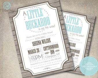 Printable Little Buckaroo Baby Shower Invitation for a Boy