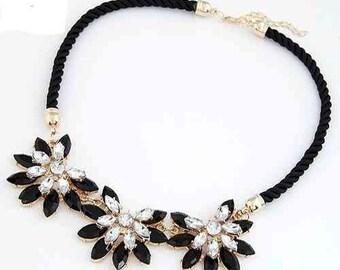 Black Flower Crystal Rhinestone Necklace