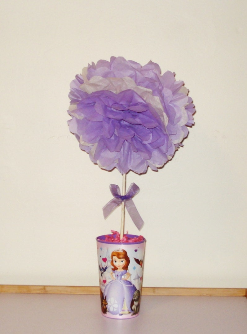 Sofia the First birthday party centerpiece by nicedecorations