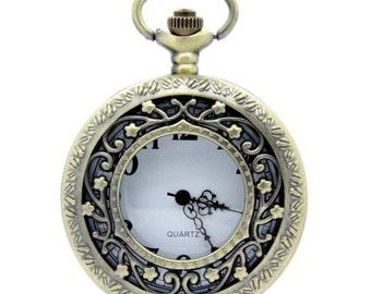1pcs/ 45mm ,Round Flower pocket watch Necklace Chain,Necklace Pendant,craft supply BM-20