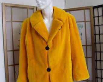 Brand new yellow sheared beaver fur jacket coat  for men man size all custom made