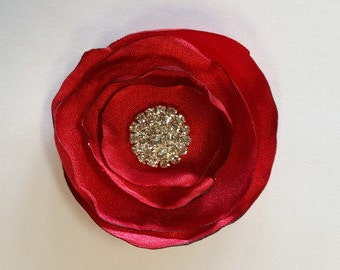 Red Satin Fabric Rose Rosette Flower w/ Burned Edge Petals High Quality Crystal -  Shabby Chic for Baby Headband