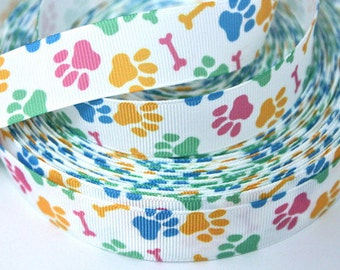 7/8 inch Colorful Paws and Bones on White Sports Printed Grosgrain Ribbon for Hair Bow