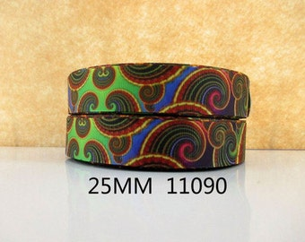 1 inch Kaleidoscope PATTERN 11090 - Printed Grosgrain Ribbon for Hair Bow