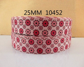 1 inch Deep Pink and Light Pink Flowers on Light Pink Background 10452- Printed Grosgrain Ribbon for Hair Bow
