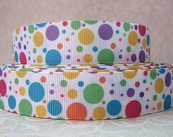 7/8 inch - Easter Polka Dots - BUNNY - RABBIT - Printed Grosgrain Ribbon SM109 for Hair Bow