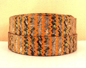 1 inch - Orange Chevron Over CAMOUFLAGE - COUNTRY - Printed Grosgrain Ribbon for Hair Bow