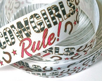 1 inch Cowgirls Rule ON WHITE - Cowprint Cowgirl - Printed Grosgrain Ribbon for Hair Bow