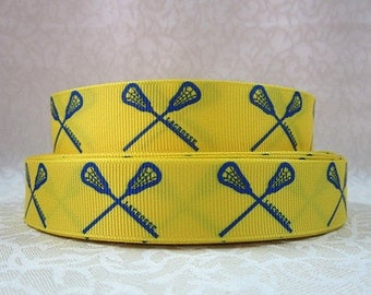 7/8 inch - LACROSSE - Blue on yellow - SPORTS - Printed Grosgrain Ribbon for Hair Bow