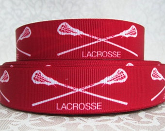7/8 inch LACROSSE On Deep Red - SPORTS - Printed Grosgrain Ribbon for Hair Bow