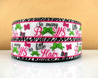1 inch So Many Bows So Little Hair on White Background - Printed Grosgrain Ribbon for Hair Bow