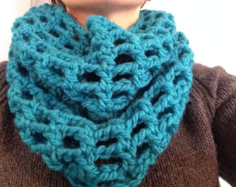 Turquoise Soft Crochet Cowl Scarf
