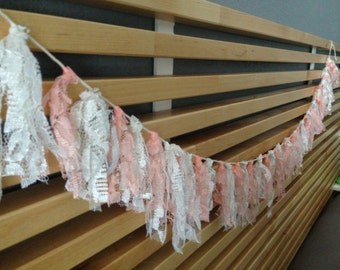 Pink and White Lace Tassel Garland - FREE SHIPPING IN U.S.!