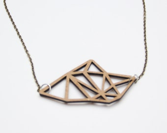 Wooden necklace / Geometric / laser cutting