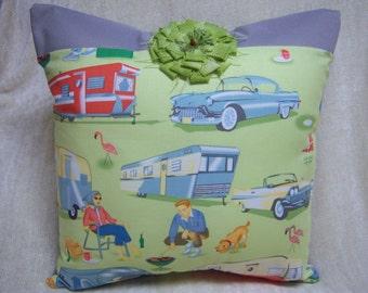 Retro Travel Trailer Print Pillow. Green and Gray Pillow.  Vintage Travel Trailer Print.  Vintage Travel Theme Pillow.
