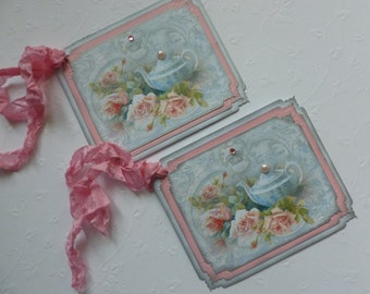 Tea party tags, shabby chic, vintage style, teapot, crown, pink roses, favor tags, gift wrap, home decor - set of 6