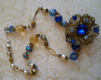 Vintage necklace repurposed jewelry for special occasions,        stunning, royal blue rhinestone necklace, handcrafted and bespoke.