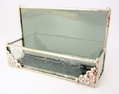 Elegant Silver Gray Stained Glass Business Card Holder with Corner Embellishment