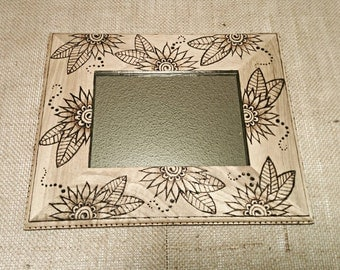 Hand Burned wooden mirror/picture frame, flowers, leaves, dots, swirls, pyrography, drawn, made to order, henna design, bohemian, hippie