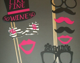 50th Birthday Photo Booth Props Mustache on a stick 50th Birthday (2039D)