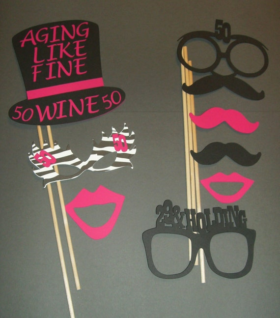 50th Birthday Photo Booth Props Mustache On A Stick 50th