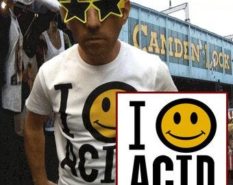 i love acid t.shirt happy mondays smiley face acid house rave techno psychedelic