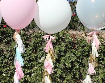 Balloon Tassel // Pink, Ivory, Gold Tassels with Giant 36 inch Confetti filled Balloon // Baby Shower, Birthday, Wedding