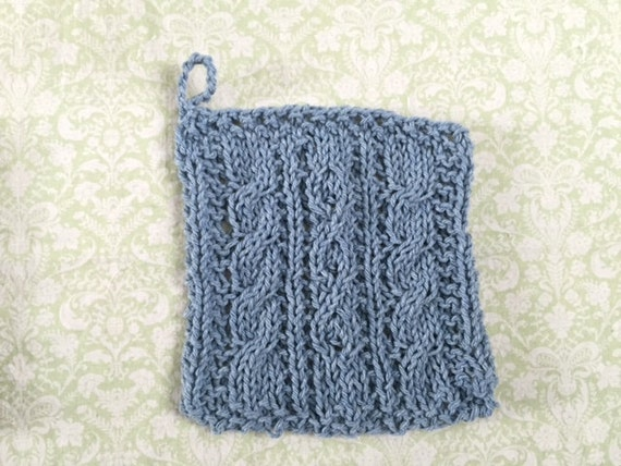 Cable Knit Dishcloth Pattern : Blue Cable Knit Dishcloth by FreeMySheep on Etsy