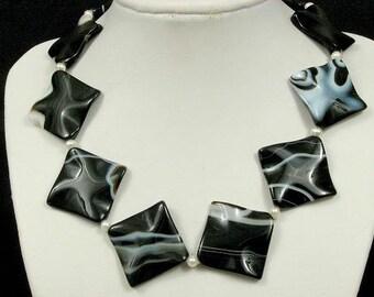 Necklace Black Agate 40mm Wave Diamonds 925 NSAK2447