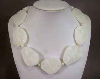 Necklace White Agate 45mm Druzy Slab Beads 925 NSAW5735