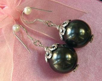 earrings Dark Gray Shell Pearls 16mm 925 w/ Caps EHSR0314
