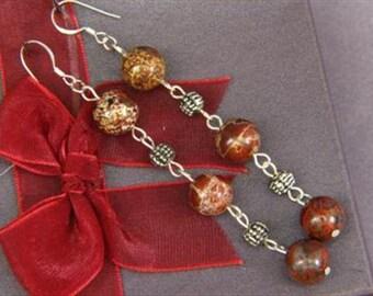 Earrings 3X Red Breciated Jasper 10mm Round Beads 925 ESJB1740
