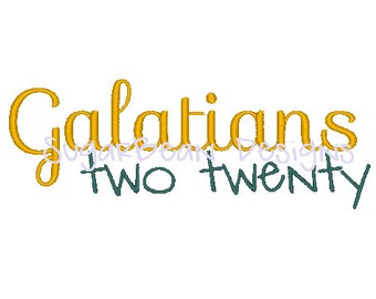Galatians 2:20 Embroidery Design. Two Sizes Included. Bible Verse Machine Embroidery Design.