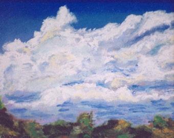 Cloudy Afternoon, clouds, trees, North Carolina, 6.25 x 5.25, original art, pastel painting,