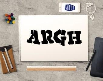 ARGH, Typography, Vintage Poster Art, Mid Century Modern, Retro Poster, Typography Poster, Typeface, Graphic Design, Typography Print
