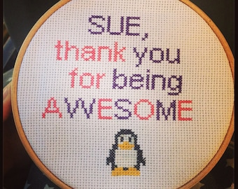 """Personalised Cross Stitch Message 7""""Hoop"""