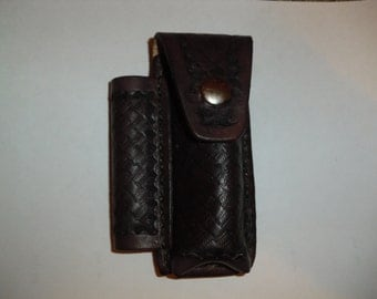 Handtooled basketweave design leather knife and flashlight case
