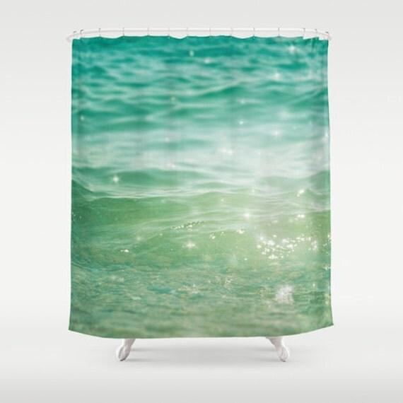 Shower curtain bathroom decor sea shower curtain nautical for Sea green bathroom accessories