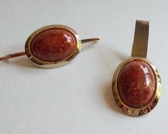 Vintage Gold Tone Burnt Orange Speckled Faux Stone Collar Clip and Tie Clip
