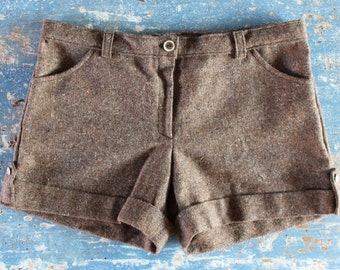 Pair of brown tweed shorts size M handmade