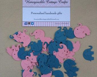 100 Elephant Baby Shower Confetti Pink Blue